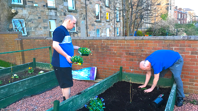 Two men planting out a raised bed in a garden